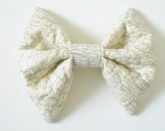 Neutral Hair Bow with Tulle, Large Hair Bow, Ivory And Taupe Crackled