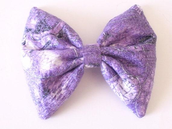Goth Hair Bow In Ghost Print, Purple Large Hair Bow
