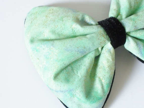 Space Print Galaxy Hair Bow, Neptune Green Hair Bow, Green And Blue, For Women, Girls