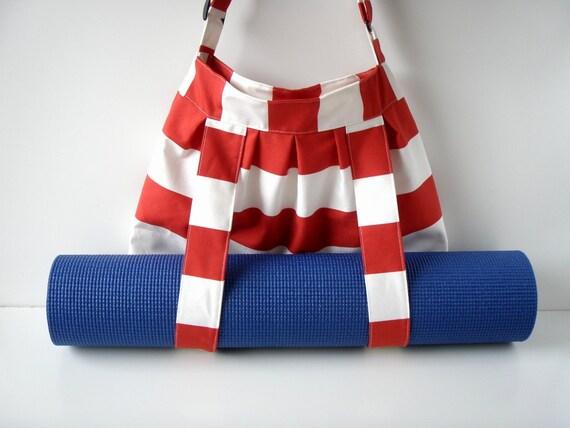 Yoga Mat Bag Red White Stripes Big With Straps For Yoga Mat Handmade BabiminiS hobo