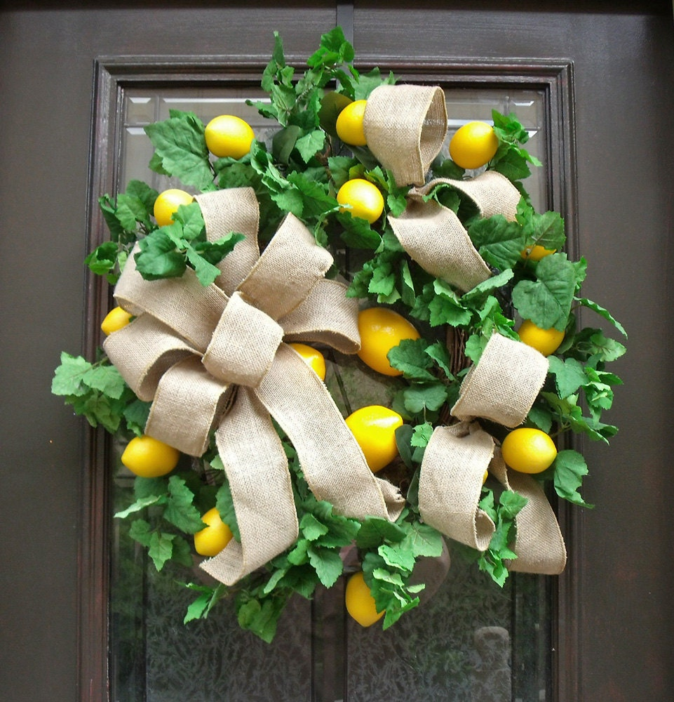 Summer Wreath Lemon Wreath Lemon And Burlap Door Wreaths