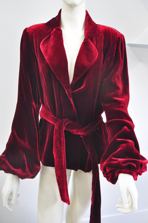 70s Deep Red Velvet Jacket With Belt Luxurious By Vintagebuzz