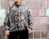 90's Unisex Leopard Tiger Silk Jacket M/L