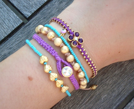 FREE SHIPPING Evil Eye Beaded Turquoise and Purple Bracelet Set