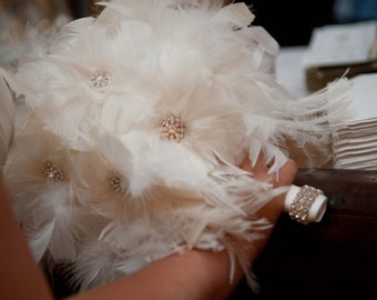 12 piece Ivory or White feather bouquet package