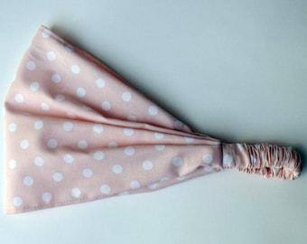 Light Rose White Polka Dotted Yoga Headband Tilda fabric