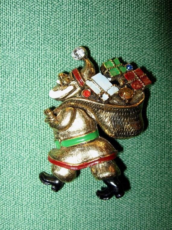 Vintage rhinestone christmas santa claus pin signed art