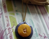 "INITIAL ""D"" Rustic Gold and Purple Pendant Necklace"