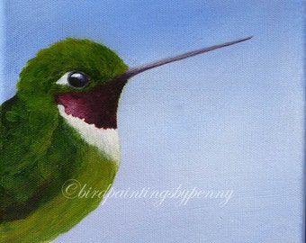 HUMMINGBIRD painting 8 x 10 bird painting
