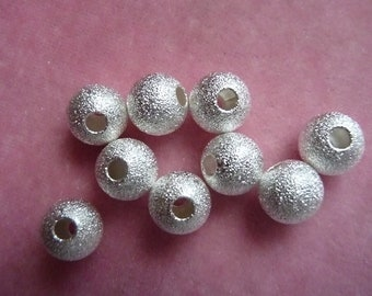 Bead, Silver Plated, Brass, 8mm, stardust round, with 2.4mm hole,  Pkg Of 12