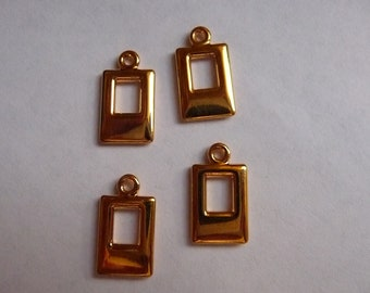 SALE!! Drop, Gold Plated, Brass, 17x9mm, Rectangle, Pkg Of 4  SALE!!