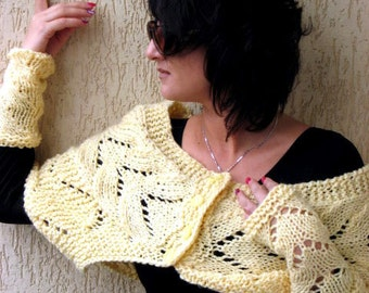 Hand Knitted Yellow Warmer, Yellow Shoulders and Wrist Warmers, Autumn, Spring, Winter Warm Accessories MADE TO ORDER