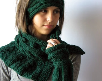 Emerald Green Knitted Warmers, Dark Green  Neck Warmer, Green Head Warmer, Fingerless Nands Warmer, Knitted Green Warmers  MADE TO ORDER