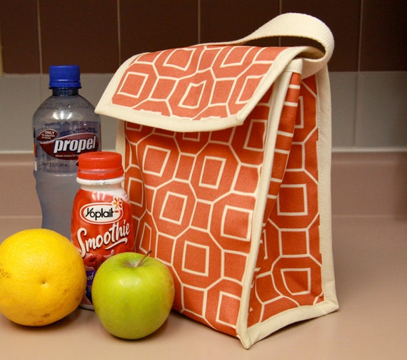 Reusable Lunch Sack in Orange Square