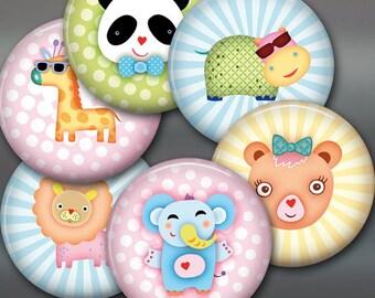 "3.5"" baby animal fridge magnets, set of 6 magnets, cute animals kitchen decor, large fridge magnet set, kids magnets set 1"