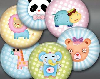 "3.5"" baby animal fridge magnets, set of 6 magnets, cute animals kitchen decor, large fridge magnet set, kids magnets, cute magnets set 2"