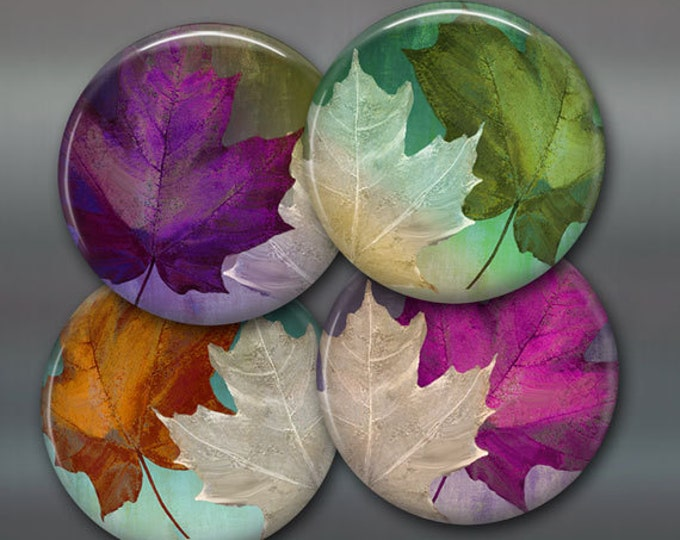 "3.5"" fall leaves fridge magnets, set of 4 magnets, kitchen decor, colourful maple leaves, autumn decor large magnets"