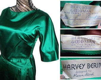 Vintage 1960s 60s designer dress in an emerald green dress statin fabric, Harvey Berin Karen Stark Bergdorf Goodman