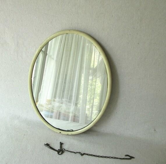 Vintage Oval Metal Mirror Chippy White
