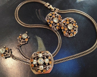 Selro Yellow Rhinestone Bolo Necklace And Earrings