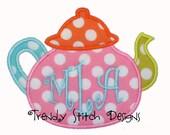Tea Pot Applique Design Machine Embroidery Design INSTANT DOWNLOAD