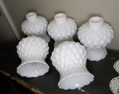 New LOW Price Vintage Milk Glass Shades Quilted Diamond Pattern