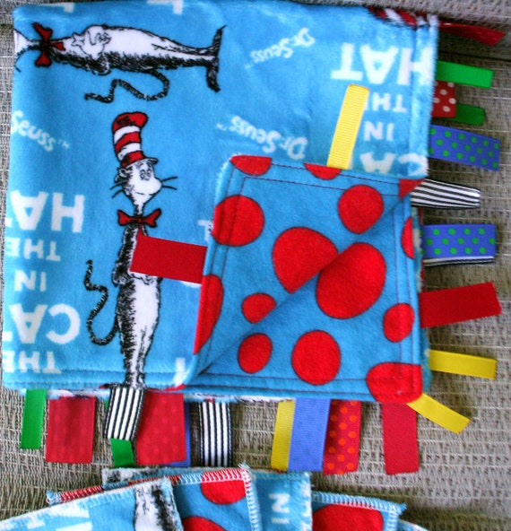 "Baby Lovey - Dr. Seuss Cat in the Hat on Blue Flannel with Dr. Seuss Jelly Bean Flannel on the Back (15"" x 15""), and (5) matching Swipers"