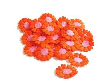 Orange Applique, Orange Flower Applique, Hippie Flowers, 1960s Flowers, Applique, Embroidered, Orange, Pink, Lot of 50, Orange and Pink