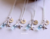 Set of 4 --Hand Stamped Sterling Silver Star Fish Bridesmaid Necklaces -Bridesmaid Gifts -- Free Shipping