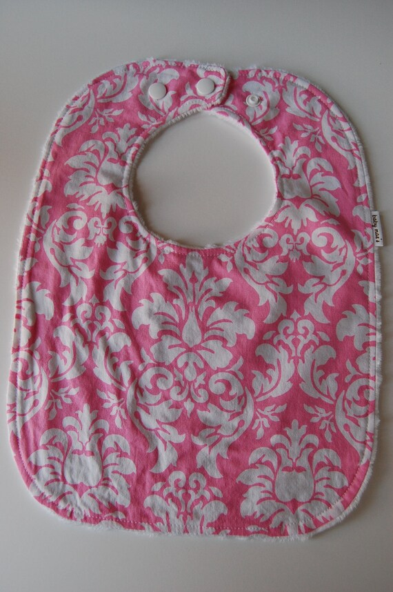 Baby Toddler Bib, READY to SHIP, Dandy Damask and White Minky Dot