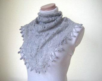 Gray, Grey Scarf, Neckwarmer, Foulard - Warm Soft Triangle - Gift for Her - Ready to Ship
