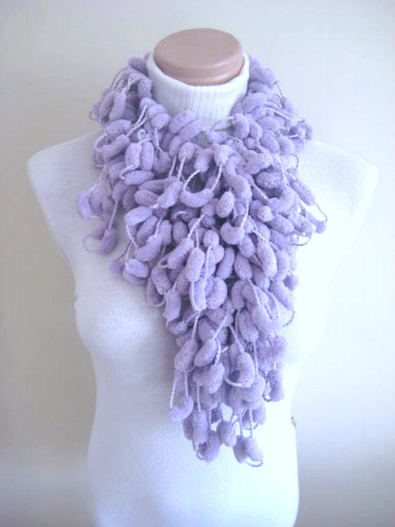 Christmas Sale - Lilac Pompom Scarf -Curly Long Neckwarmer, Cowl, Necktie - Cocoon, Mulberry Purple Yarn - GIFT for HER - Ready for Shipping
