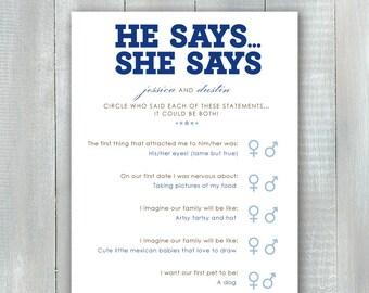 He Says She Says Game PDF