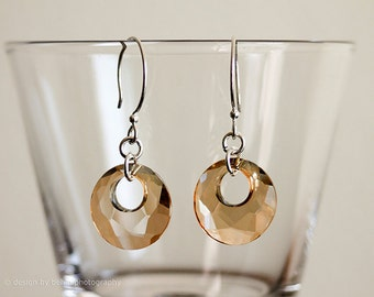 Golden Shadow Swarovski Crystal Circle Sterling Silver Earrings, , Minimalist Style, Asymmetrical Circles Earrings, design by behin