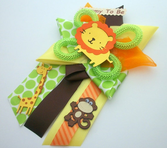 Safari Baby Shower Corsage: Safari Baby Shower Corsage Jungle Animals Ready To Ship
