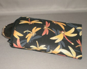 Eyeglass or Sunglasses Case - Padded Zippered Pouch - iPhone - Cell Phone - Dragonfly - Metallic