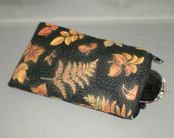 Eyeglass or Sunglasses Case - Padded Zippered Pouch - iPhone - iPod - Autumn Leaves - Orange, Gold, Brown, Red