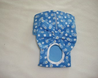 Female Dog Diaper / Panties - Blue with tiny white daisies XXS= Medium