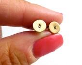 Teeny Tiny Initial Earrings, Personalized Monogram Posts, Bridal, Bridesmaids, Custom Handmade Jewelry