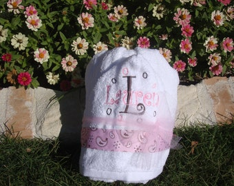 Embroidered Hooded Towel Pink Paisley Damask with Personalization