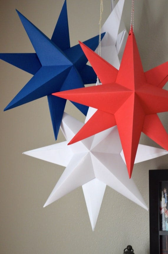 How To Make Paper Christmas Ceiling Decorations : Hanging paper star large folded origami by thepathlesstraveled