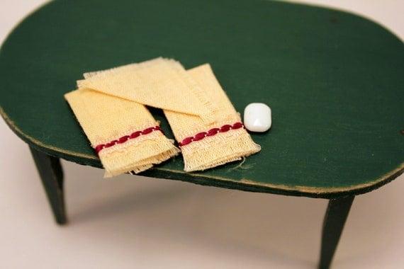Miniature Towel Set Dollhouse Kitchen Linen