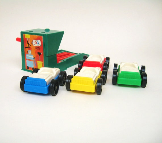 RESERVED Vintage Fisher Price Garage Lift and Cars
