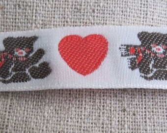 I HEART Bears jacquard woven Ribbon