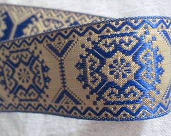 Geometric octagon jacquard ribbon in BLUE and GOLD
