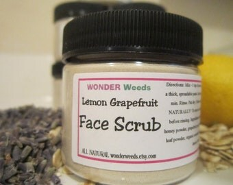 Lemon Grapefruit, FACE SCRUB, ALL Natural, with Honey and Organic Oatmeal