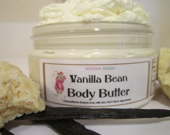 Organic Vanilla Bean Body Butter, large 4oz size, Deeply Nourishing and Moisturizing, NATURALLY  Deliciously SCENTED
