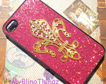 Brass - Metal Stamping - Fleur De Lis on Red Glitter Sparkle Bling Case Cover for Apple iPhone 4 4G 4S AT&T Verizon Sprint