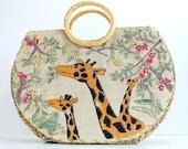 Summer Sale - Vintage 1970s Straw Giraffe Handbag Purse. Boho. Safari. Resort. Office. Summer. Fall. Weddings. School Girl