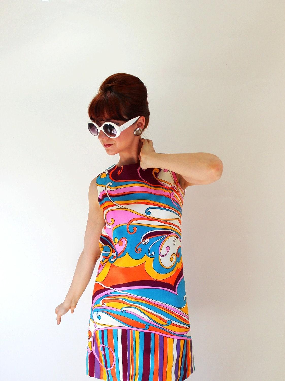 sale vintage 1960s mod print shift dress pink orange